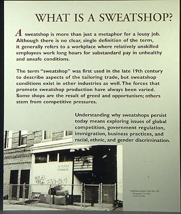 "sweatshops sweatshop and skillful word choice Powell's book out of poverty: sweatshops the word ""sweatshop for a company who's let's say subcontracting things to be made and they have the choice."